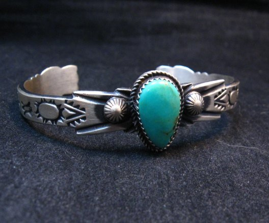 Image 3 of Navajo Native American Sterling Silver Turquoise Bracelet Martha Cayatine