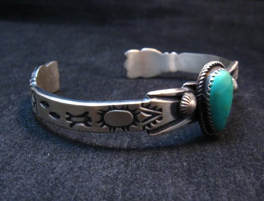Image 4 of Navajo Native American Sterling Silver Turquoise Bracelet Martha Cayatine