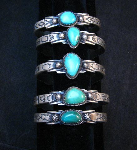 Image 6 of Navajo Native American Sterling Silver Turquoise Bracelet Martha Cayatine
