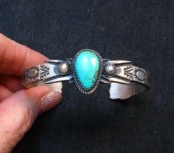 Navajo Native American Sterling Silver Turquoise Bracelet Martha Cayatine