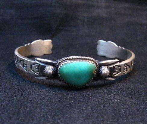 Image 0 of Navajo Old Style Turquoise Silver Bracelet Martha Cayatine