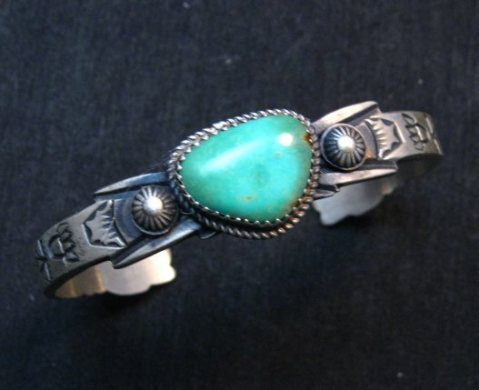 Image 1 of Navajo Old Style Turquoise Silver Bracelet Martha Cayatine