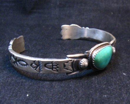 Image 2 of Navajo Old Style Turquoise Silver Bracelet Martha Cayatine