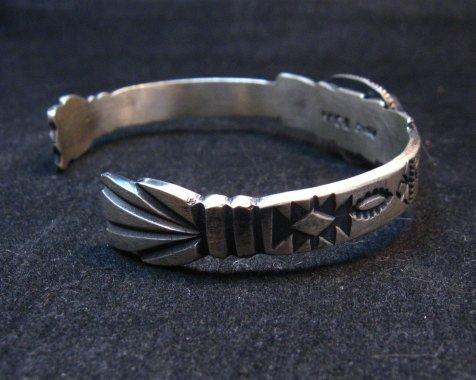 Image 4 of Navajo Old Style Turquoise Silver Bracelet Martha Cayatine