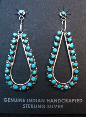 Image 0 of Zuni Sleeping Beauty Turquoise Snake-eye Dangle Earrings