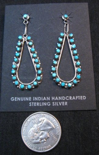 Image 1 of Zuni Sleeping Beauty Turquoise Snake-eye Dangle Earrings