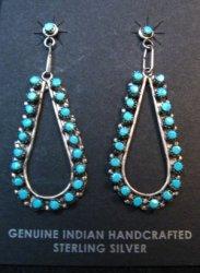 Zuni Sleeping Beauty Turquoise Snake-eye Dangle Earrings