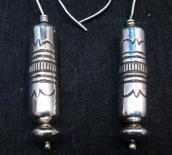 Image 0 of Navajo Stamped Silver Barrel Beads Dangle Earrings by Lutricia Yellowhair