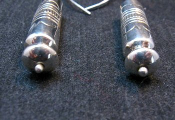 Image 1 of Navajo Stamped Silver Barrel Beads Dangle Earrings by Lutricia Yellowhair