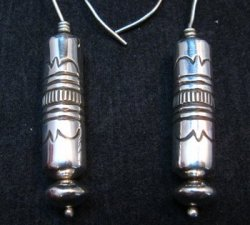Navajo Stamped Silver Barrel Beads Dangle Earrings by Lutricia Yellowhair
