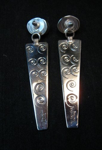 Image 1 of Navajo Alex Sanchez Turquoise Silver Petroglyph Earrings