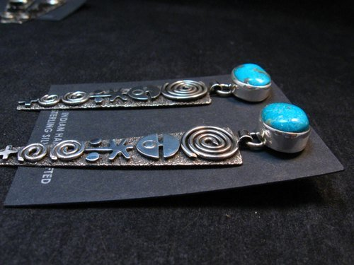 Image 3 of Navajo Alex Sanchez Turquoise Silver Petroglyph Earrings