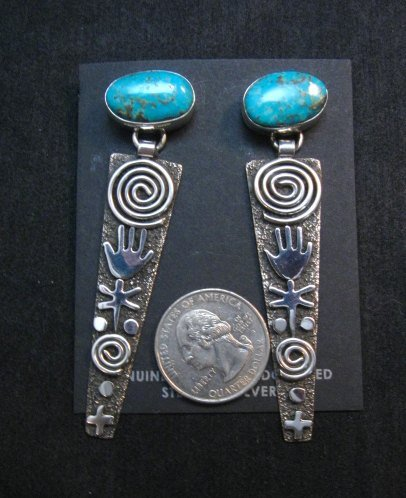 Image 0 of Long Navajo Alex Sanchez Turquoise Silver Petroglyph Earrings