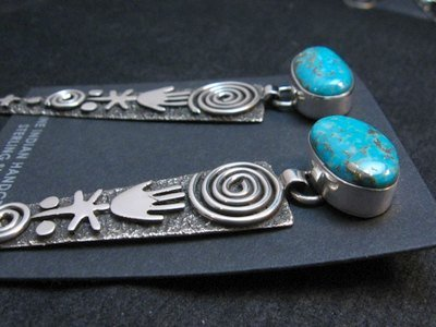Image 2 of Long Navajo Alex Sanchez Turquoise Silver Petroglyph Earrings