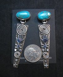 Long Navajo Alex Sanchez Turquoise Silver Petroglyph Earrings