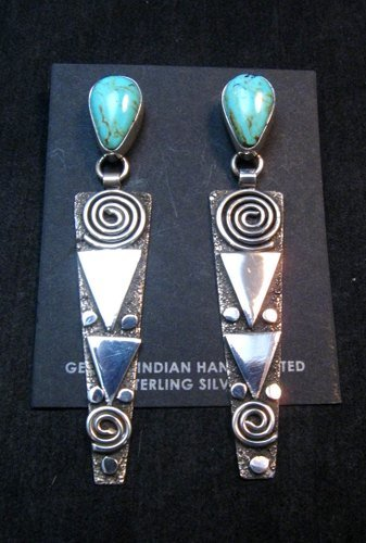 Image 0 of Huge Navajo Alex Sanchez Turquoise Silver Petroglyph Dangle Earrings