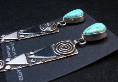 Image 2 of Huge Navajo Alex Sanchez Turquoise Silver Petroglyph Dangle Earrings