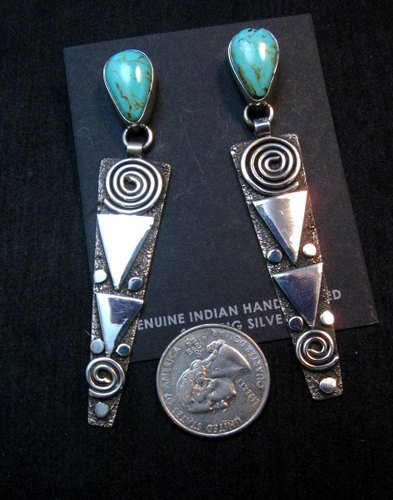 Image 3 of Huge Navajo Alex Sanchez Turquoise Silver Petroglyph Dangle Earrings