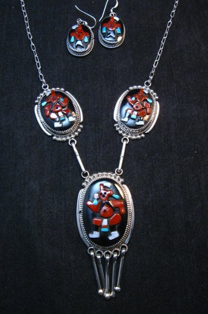 Image 0 of Zuni Beverly Etsate Mudhead Kachina Necklace & Earrings Set