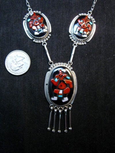 Image 1 of Zuni Beverly Etsate Mudhead Kachina Necklace & Earrings Set
