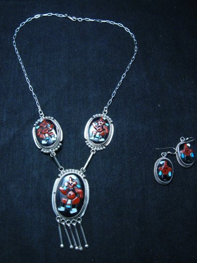Image 2 of Zuni Beverly Etsate Mudhead Kachina Necklace & Earrings Set