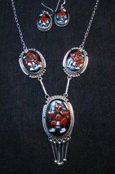 Zuni Beverly Etsate Mudhead Kachina Necklace & Earrings Set