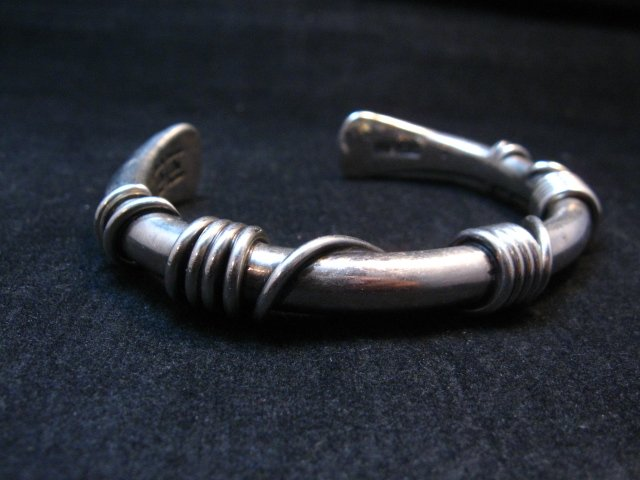 Image 3 of Vintage Heavy Navajo Orville Tsinnie Sterling Silver Wire Wrap Bracelet, Large