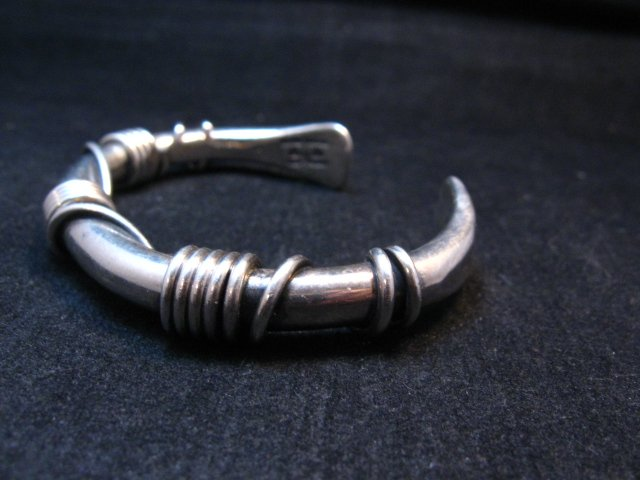 Image 4 of Vintage Heavy Navajo Orville Tsinnie Sterling Silver Wire Wrap Bracelet, Large