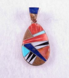 Navajo Multistone Inlaid Pendant w/ Inlaid Bale, Calvin Begay