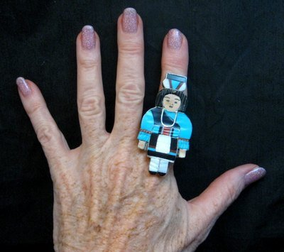 Image 1 of Madeline Beyuka Zuni Inlay Olla Maiden Ring - Turquoise - sz8-1/2