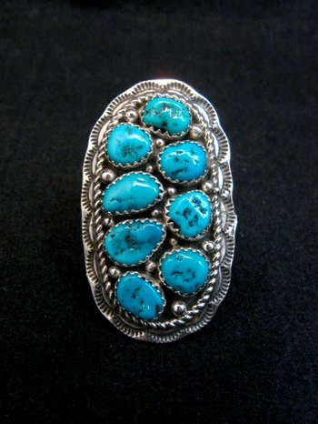 Image 0 of Navajo Native American Sleeping Beauty Turquoise Cluster Ring sz6-1/2, H Etsitty