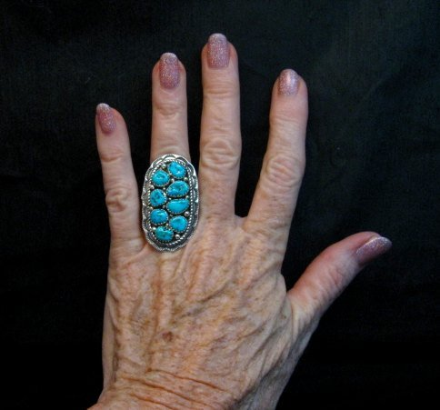 Image 2 of Navajo Native American Sleeping Beauty Turquoise Cluster Ring sz6-1/2, H Etsitty