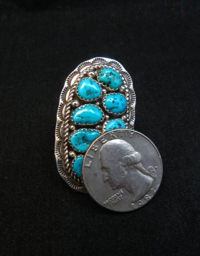 Image 3 of Navajo Native American Sleeping Beauty Turquoise Cluster Ring sz6-1/2, H Etsitty