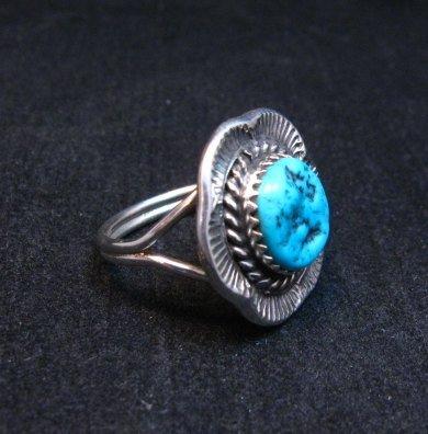 Image 1 of Navajo Native American Sleeping Beauty Turquoise Ring sz6-3/4, H Etsitty