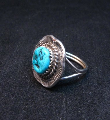 Image 2 of Navajo Native American Sleeping Beauty Turquoise Ring sz6-3/4, H Etsitty