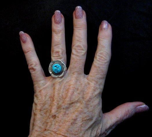Image 3 of Navajo Native American Sleeping Beauty Turquoise Ring sz6-3/4, H Etsitty