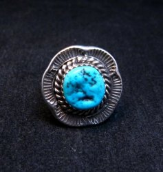 Navajo Native American Sleeping Beauty Turquoise Ring sz6-3/4, H Etsitty