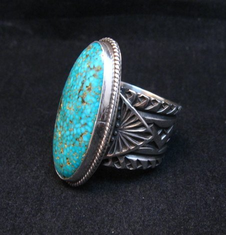 Image 1 of Navajo Sunshine Reeves Turquoise Sterling Silver Native American Ring sz9-1/2