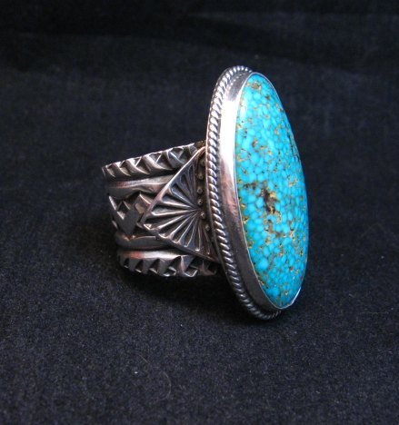 Image 2 of Navajo Sunshine Reeves Turquoise Sterling Silver Native American Ring sz9-1/2