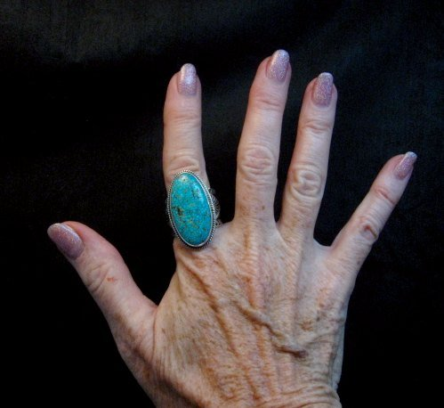 Image 3 of Navajo Sunshine Reeves Turquoise Sterling Silver Native American Ring sz9-1/2