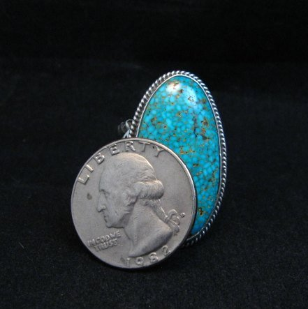 Image 4 of Navajo Sunshine Reeves Turquoise Sterling Silver Native American Ring sz9-1/2