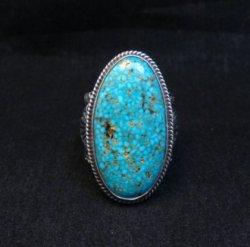 Navajo Sunshine Reeves Turquoise Sterling Silver Native American Ring sz9-1/2