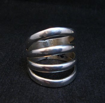 Image 0 of Navajo 4-Way Split Silver Ring sz9-1/2, Wilbert Benally