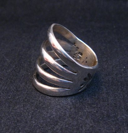 Image 2 of Navajo 4-Way Split Silver Ring sz9-1/2, Wilbert Benally