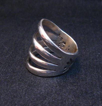 Image 2 of Navajo 4-Way Split Silver Ring sz9-1/2, Wilbert Benally