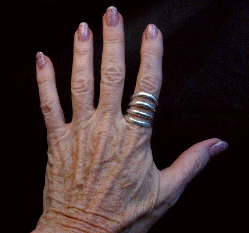 Image 1 of Navajo 4-Way Split Silver Ring sz9-1/2, Wilbert Benally