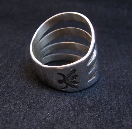 Image 3 of Navajo 4-Way Split Silver Ring sz9-1/2, Wilbert Benally