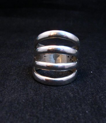 Image 0 of Navajo Native American Silver 4-Way Split Ring sz7-3/4, Wilbert Benally