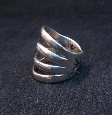 Image 2 of Navajo Native American Silver 4-Way Split Ring sz7-3/4, Wilbert Benally