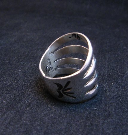 Image 3 of Navajo Native American Silver 4-Way Split Ring sz7-3/4, Wilbert Benally
